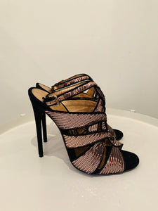 Tom Ford Rose Sequin Peep Toe Sandals