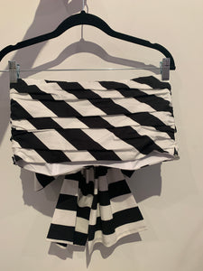 MSGM  Black And Withe Cropped Top