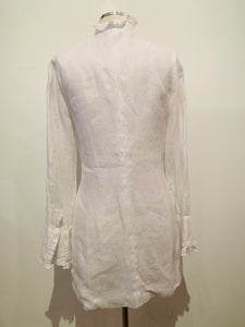100% Capri White  Long Sleeve Llinen Dress SZ Xs
