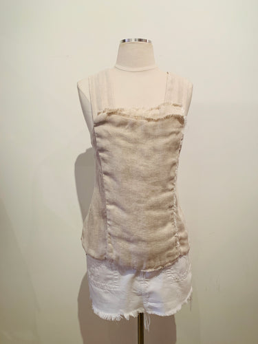 100% Capri Taupe  Sleeveless Linen Top