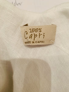 100% Capri White  sleeveless linen dress