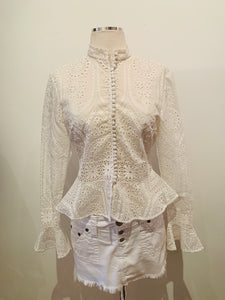 White Nicholas Long Sleeve Eyelet Top