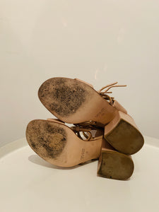 Laurence Dacade Nude Leather Sandals 38