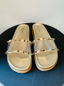 Valentino Gold PVC slide sandals