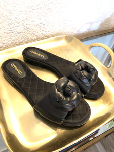 Chanel Camelia Leather Sandals Sz. 38