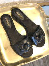Load image into Gallery viewer, Chanel Camelia Leather Sandals Sz. 38