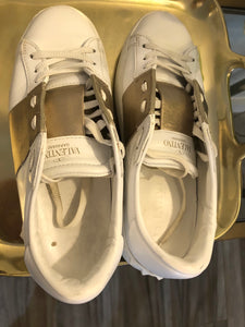 Valentino Rockstud Accents Leather Sneakers Sz 37