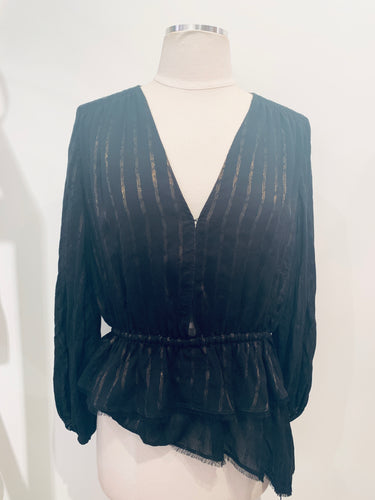 10 Crosby  Derek Lam  Black Sheer Longsleeve Top