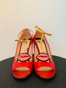 Gucci Red Leather Gucci 2017 Molina Lips Pumps 41