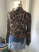 Load image into Gallery viewer, Theory Animal Print Silk Bow Blouse