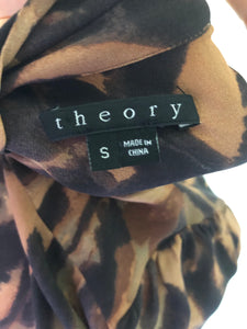 Theory Animal Print Silk Bow Blouse