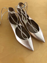 Load image into Gallery viewer, Aquazurra Gold Pointed Flats Sz. 37.5