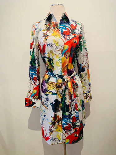Paper White Multicolor Shirt Dress