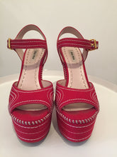 Load image into Gallery viewer, Miu Miu Red Canvas Platform Wedge Sz. 37.5