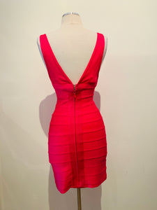 Herve Leger Fuchsia Bandage Mini Dress