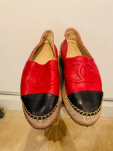 Load image into Gallery viewer, Chanel Red Lambskin Espadrilles 38