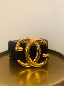 Gucci Black Suede Vintage Belt