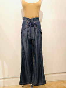 Pink Philosophy Blue High-Rise Wide-leg Pants