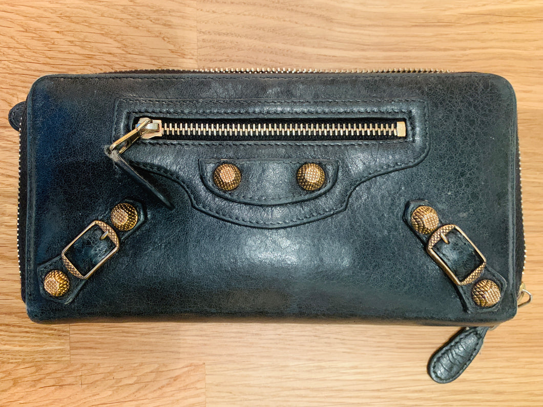 Balenciaga Black Leather Motocross Zip Wallet