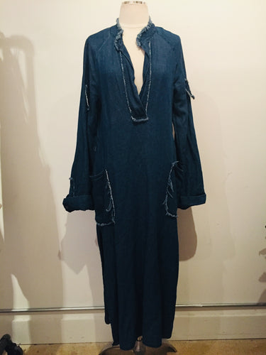 Raquel Allegra Soft Denim Long Sleeve  Maxi Dress