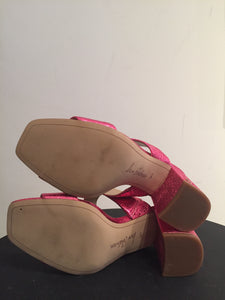 Sam Edelman Crinkle Pink Metallic Leather  Sandals Sz 6.5