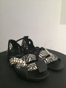 Pierre Hardy Black and Creme Snakeskin Sandals Sz 37