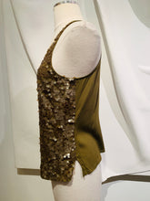 Load image into Gallery viewer, Saja Dark Gold Sequined Thank Top