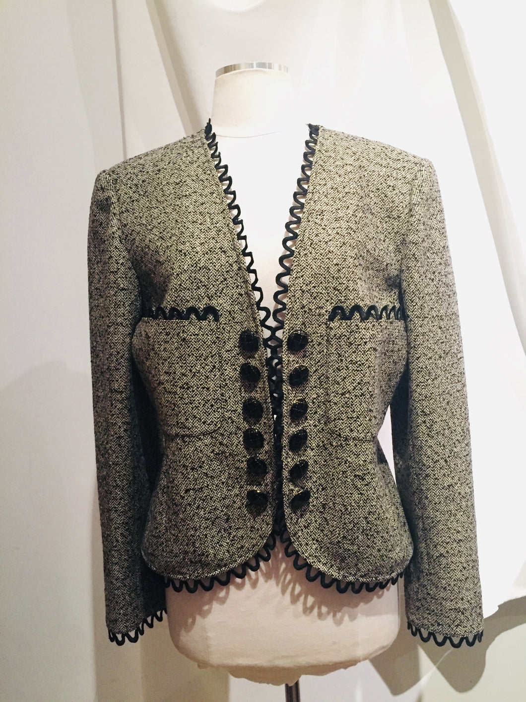 Vintage Valentino Boutique Taupe and Black ool blazer