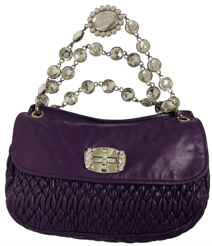 Miu Miu purple  matelassé Nappa leather  clutch