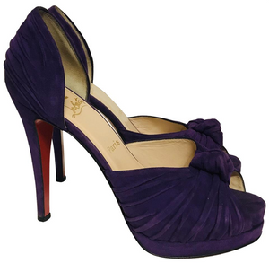 Christian Louboutin Purple suede peep-toe Platform pumps Sz 41,