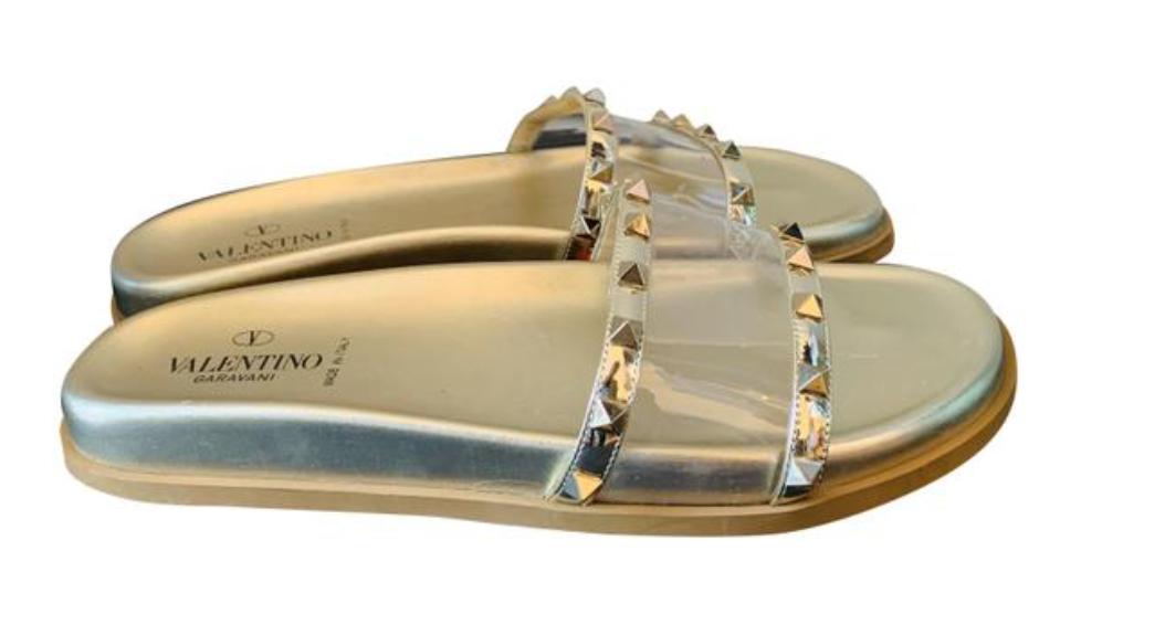 Valentino Gold PVC Slide Sandals 41