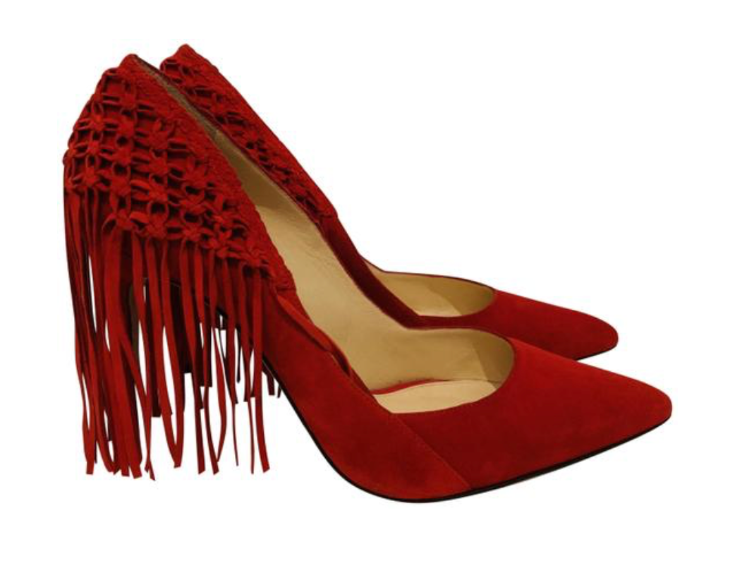 Alexandre Birman Red suede pointed-toe pumps