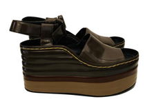 Load image into Gallery viewer, Céline Multicolor Patent Leather Wedge Sandals