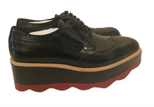 Load image into Gallery viewer, Prada Black Patent Platform Brogues