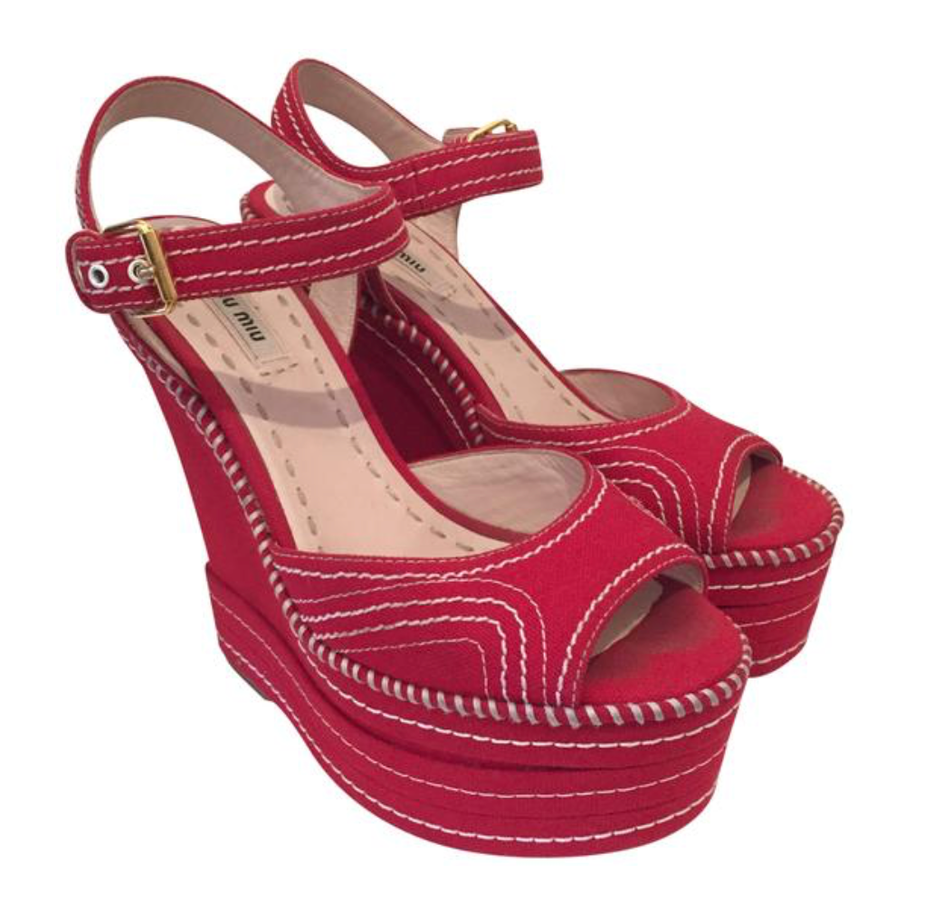 Miu Miu Red Canvas Platform Wedge Sz. 37.5