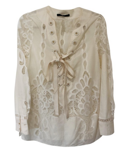 Gucci Eyelet Lace Up Summer Shirt