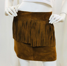 Load image into Gallery viewer, Saint Laurent  Brown A-Line Suede Fringe Skir