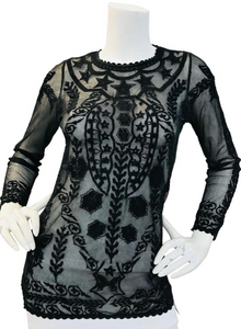 Isabel Marant Black  Embroidered Top