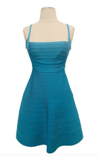 Load image into Gallery viewer, Herve Leger Turquoise Sleeveless Bandage Mini Dress