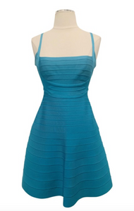 Herve Leger Turquoise Sleeveless Bandage Mini Dress