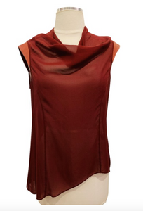 Helmut Lang Burgundy Sleeveless Top Sz M