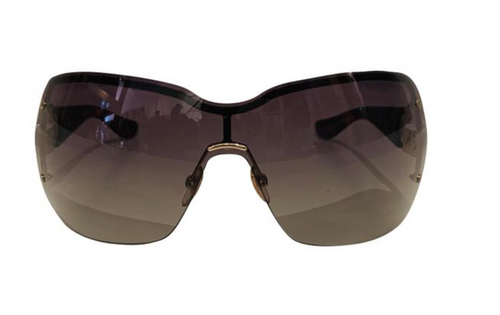 Gucci Brown Acetate Shield Sunglasses