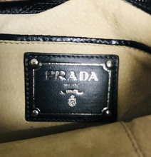 Load image into Gallery viewer, Prada Black Python Skin Leather Clutch