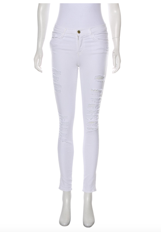 FRAME White Mid-Rise Distressed Skinny Jean