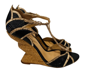 Alexandre Birman Snakeskin Wedge 41