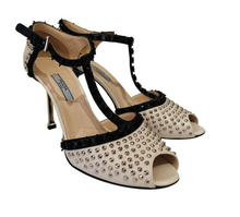 Load image into Gallery viewer, Prada Ivory & Black Leather Embellished Sandals