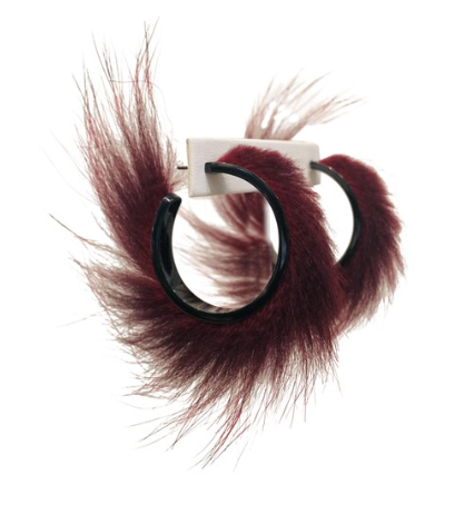 Salvatore Ferragamo Burgundy Fur Hoop Earrings