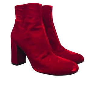 Saint Laurent Red Velvet Babies 90 Ankle Boots 37.5