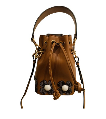 Fendi Brown Mon Tresor Flower Appliqué Cross Body Bag