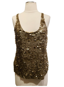 Saja Dark Gold Sequined Thank Top